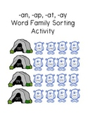 Monster Word Family Sorting Activity (-an, -ap, -at, -ay endings)