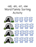 Monster Word Family Sorting Activity (-ed, -en, -et, -ew endings)