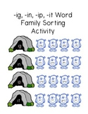 Monster Word Family Sorting Activity (-ig, -ip, -ip, -it endings)
