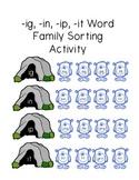 Monster Word Family Sorting Activity (-ig, -ip, -ip, -it endings)