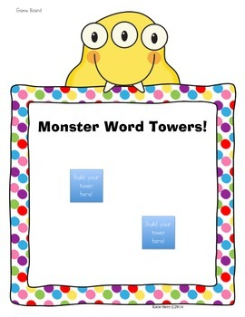 Monster Word Towers! High Frequency Word Game for Journeys Common Core 2014