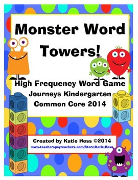 Monster Word Towers! High Frequency Word Game for Journeys