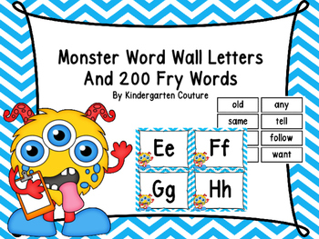 Monster Word Wall -Blue Chevron