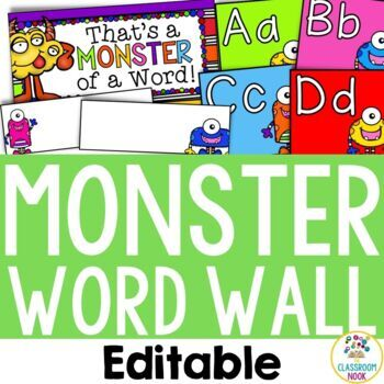 Monster Theme: Word Wall (Editable)