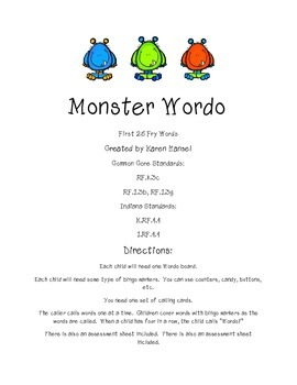 Fry Words 1-25 Monster Bingo