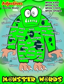 Monster Words Adjective Poster