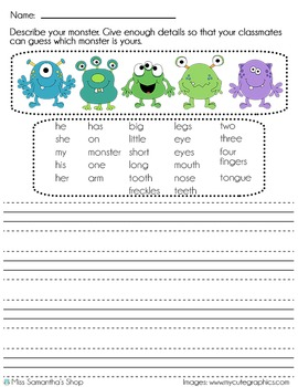 Monster Writing Prompt - English