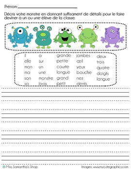 Monster Writing Prompt - French/Français