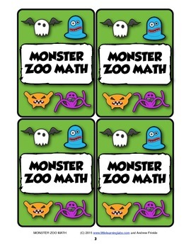 Monster Zoo Math - Activity Center Addition Subtraction Basic Operations Game