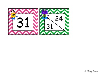 Monster and Chevron Calendar Number Cards