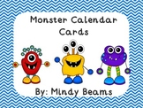 Monster and Chevron Calendar Word Cards
