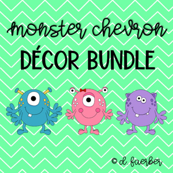 Monster and Chevron Classroom Decor Bundle