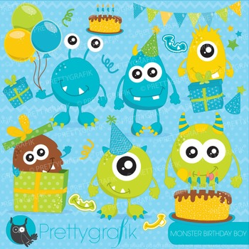 Monster birthday clipart commercial use, vector graphics,
