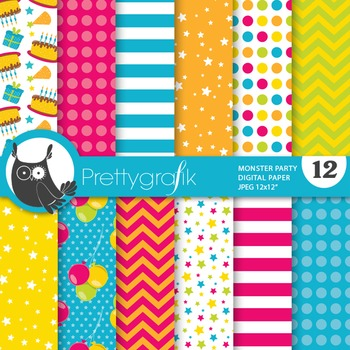 Monster birthday party digital paper, commercial use, scra