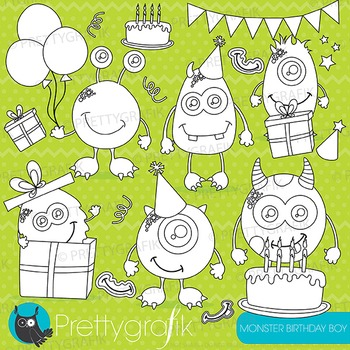 Monster birthday stamps commercial use, vector graphics, images - DS655