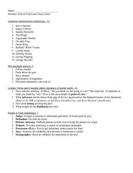 Monster by Walter Dean Myers - Assessment 1 - Unit Exam