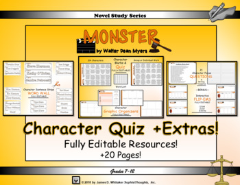 Monster by Walter Dean Myers Character Quiz & Focus Questions