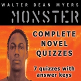 Monster by Walter Dean Myers Complete Novel Quizzes (7 Quizzes)