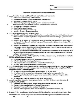 Monster by Walter Dean Myers Comprehension Questions