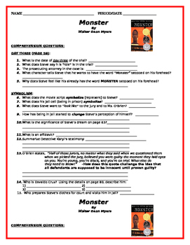 Monster by Walter Dean Myers - Comprehension Questions - Days 3 & 4 of Trial