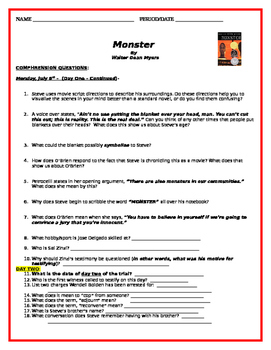 Monster by Walter Dean Myers - Comprehension Questions - Days 1 & 2 of Trial