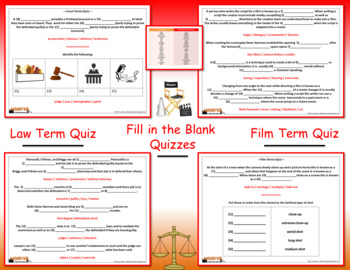 Monster by Walter Dean Myers Film & Law Term Quizzes