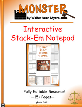 Monster by Walter Dean Myers Interactive Stack-Em Notepad