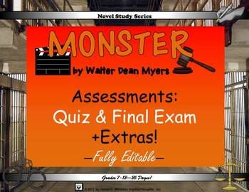 Monster by Walter Dean Myers Novel Study Assessments