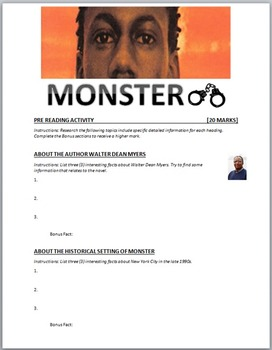 Monster by Walter Dean Myers: Pre-Reading Activity Web Quest
