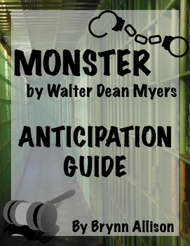 Monster by Walter Dean Myers Pre-Reading Discussion Activi