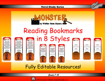 Monster by Walter Dean Myers Reading Bookmarks