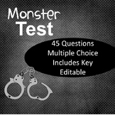 Monster by Walter Dean Myers Test EDITABLE!