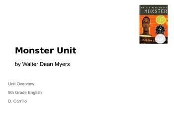 Monster by Walter Dean Myers Unit - Lesson 1 High School E