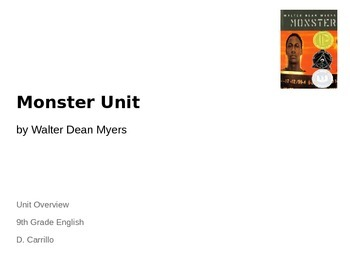Monster by Walter Dean Myers Unit - Lesson 2 High School English - ELA