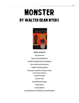 Monster by Walter Dean Myers Unit Plan