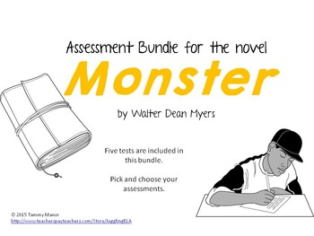 assessment bundle for the novel monster by walter dean myers by  assessment bundle for the novel monster by walter dean myers