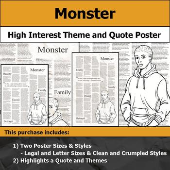 Monster by Walter Dean Myers - Visual Theme and Quote Poster for Bulletin Boards