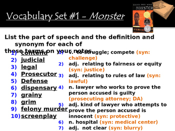 Monster by Walter Dean Myers - Vocabulary Activity (SET #1)