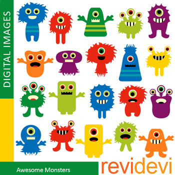 Monster clip art for activities and centers
