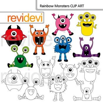 Monster clip art: rainbow monsters