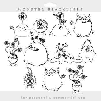 Monster clipart blacklines - line art monsters clip art whimsical cute aliens