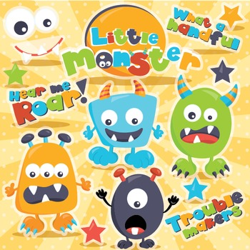 Monster clipart commercial use, vector graphics, digital  - CL977