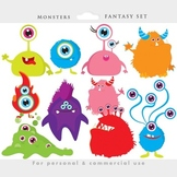 Monster clipart - monsters clip art, whimsical, cute, aliens, colorful