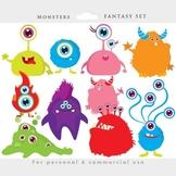 Monster clipart - monsters clip art, whimsical, cute, alie