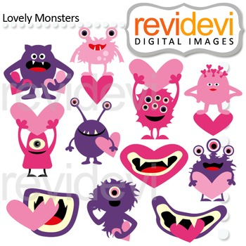 Monster clipart - pink purple - Lovely monsters clip art