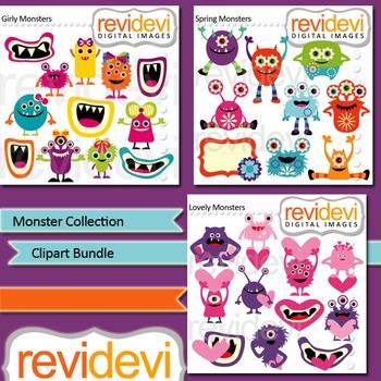 Monster collection clip art bundle (3 packs)