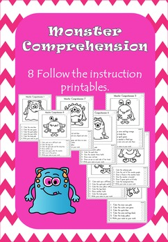 Monster comprehension printables