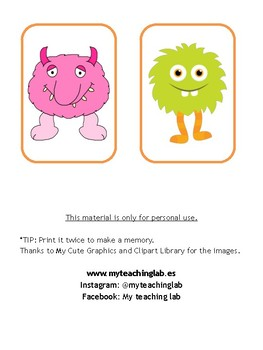 Monster flashcards - Body parts