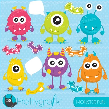 Monster fun clipart commercial use, vector graphics, digital - CL654