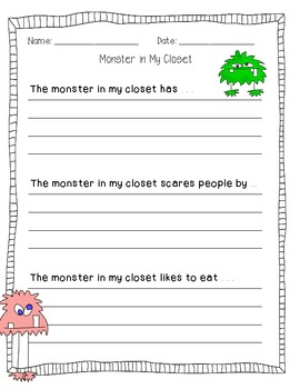 Monster in the Closet - An Art and Writing Activity